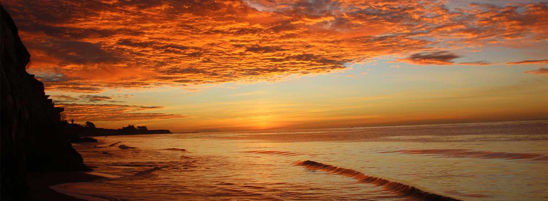 Santa Barbara sunset over the beach and ocean